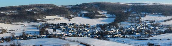 Unsere Gemeinde im Winter 2014 vom Staufelsberg aus betrachtet