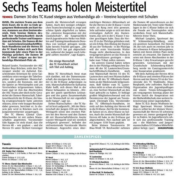 Quelle: Verlag: DIE RHEINPFALZ Publikation: Westricher Rundschau Ausgabe: Nr.153 Datum: Mittwoch, den 04. Juli 2012 Seite: Nr.14