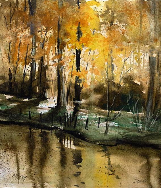 into the light Abendlicht Waldlandschaft / Odenwald / Aquarell, gemalt von Jopie Bopp, Leinwandbild