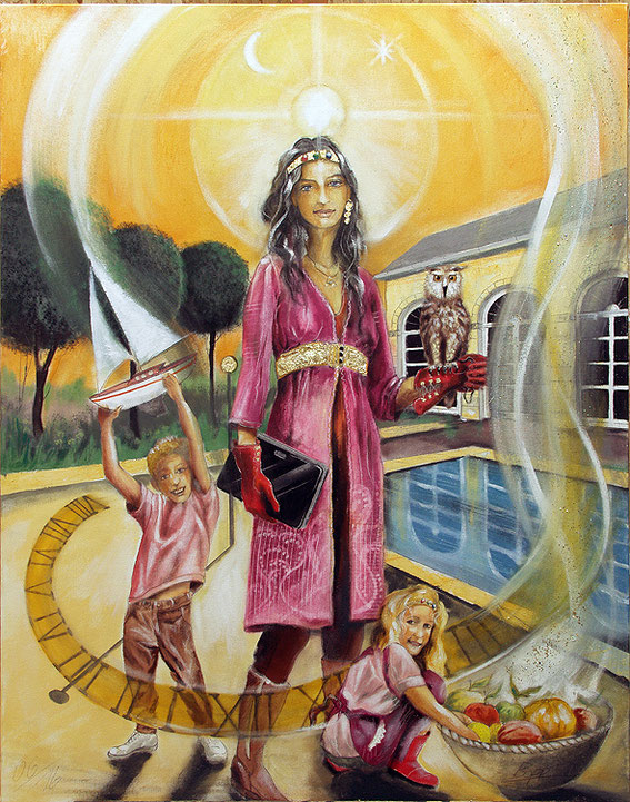 Die Herrscherin Sakis-Tarot, Leinwandbild, Kunstdruck, Poster