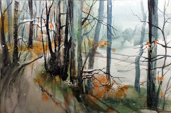 Landschaftsaquarell Abschied vom Herbst / Waldweg Odenwald gemalt von Jopie Bopp