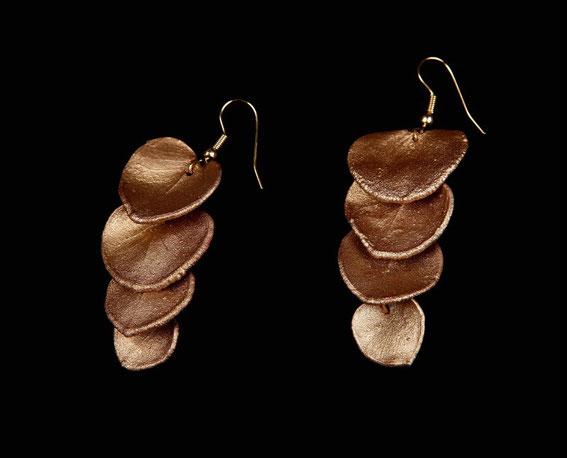 Boucles feuilles d'eucalyptus, cuivre doré