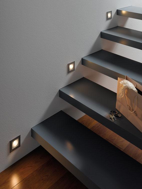 Wandeinbauleuchten für Treppe