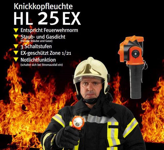 Acculux Knickkopfleuchte HL 25 EX Feuerwehr
