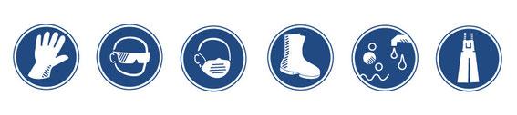 Schutzbrillen und Schutzhandschuhe, auch für den Einmal-Gebrauch (Einweg)