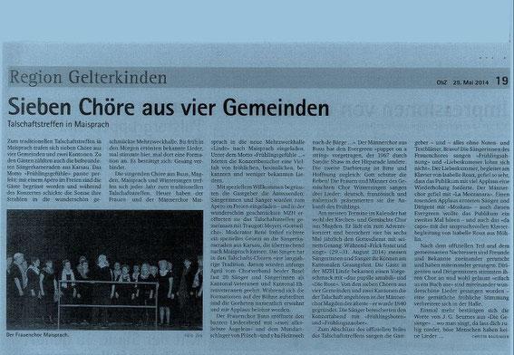 Oberbaselbieter Zeitung vom 29. Mai 2014 (drauf klicken zum vergrössern)
