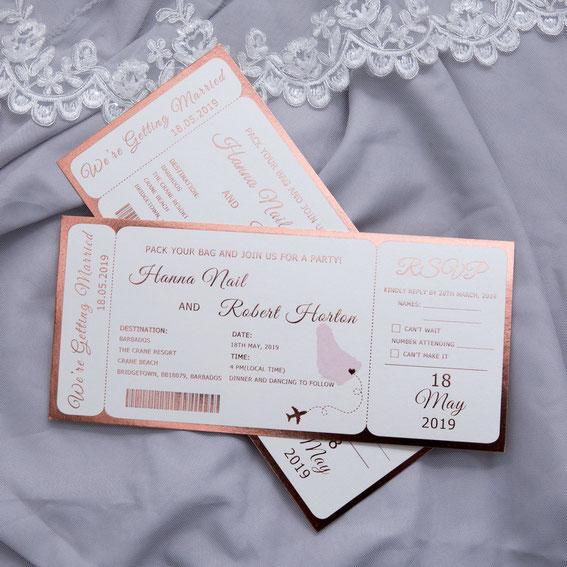 Flugticket Hochzeitseinladung mit Heißfolien Druck
