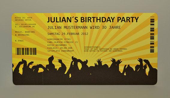 Einladungskarten für Geburtstag  Eintrittskarte  Ticket  Karte  Einladung Konzertkarte