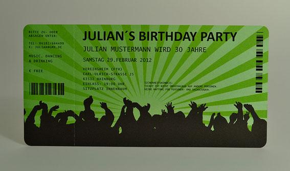 Einladungskarten für Geburtstag • Eintrittskarte • Ticket • Karte • Einladung Konzertkarte