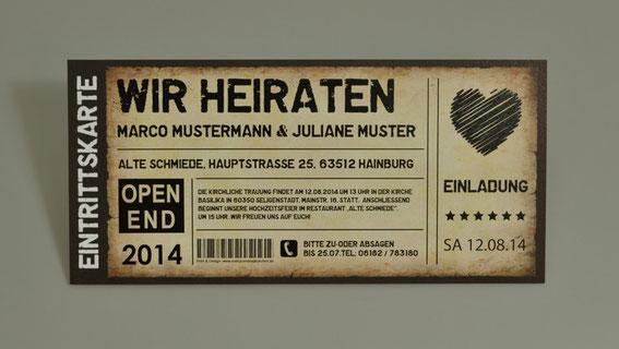Einladungskarten Hochzeit als Ticket Eintrittskarte Einladung Karte Vintage mit Herz
