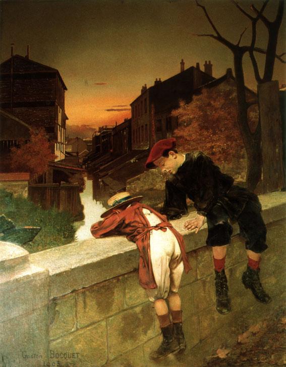 Enfants au dessus de la Bièvre à Gentilly par Gaston Boquet - Tableau de la Salle des Fêtes de la Mairie