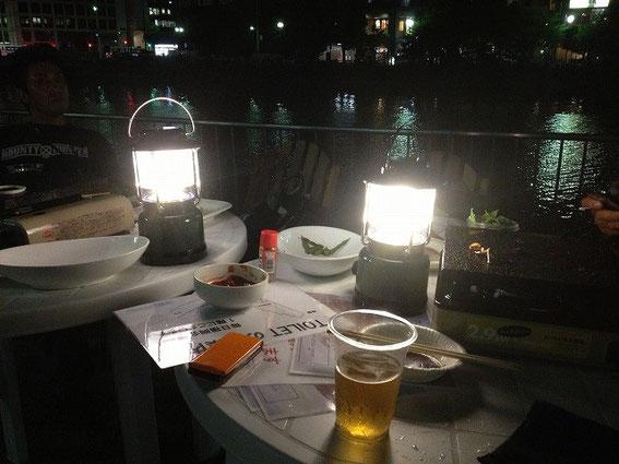 日暮れ後の水上公園
