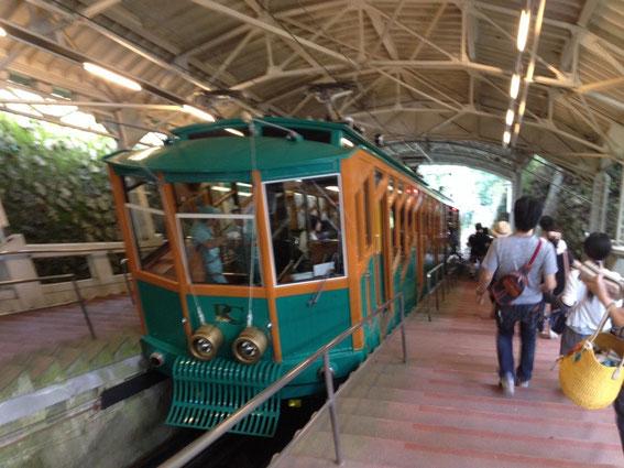 六甲山のケーブルカーの写真