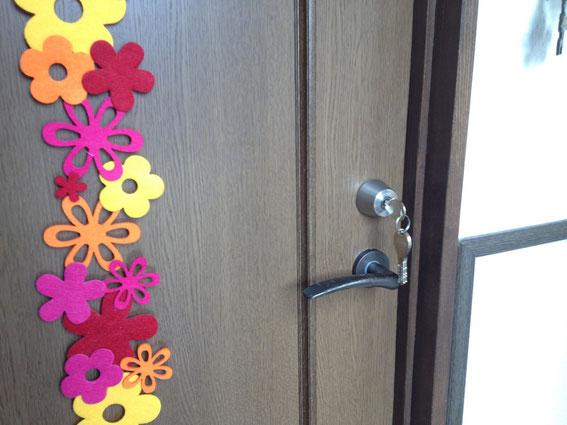 寝室への鍵取り付け例