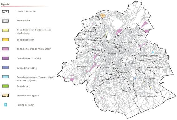 Carte de localisation des modifications apportées au PRAS, tirée de la Brochure explicative du PRAS démographique
