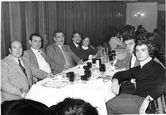 Cena con el C. C. Iberia, Primeros socios de la peña. 21/12/1974