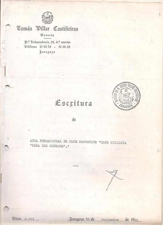 Portada escritura fundación del club. 5 de Enero de 1981