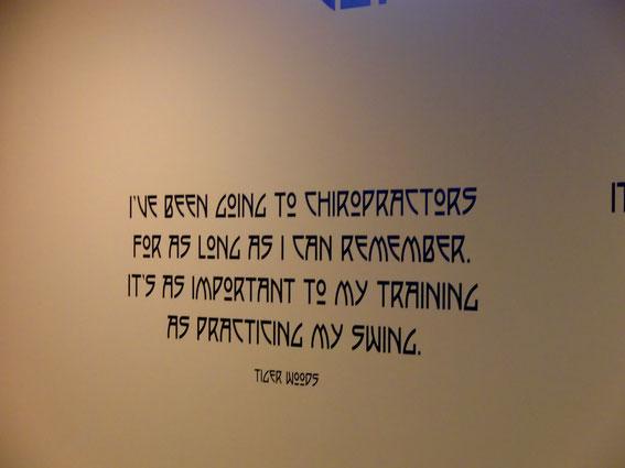 カイロプラクティックは私がスイングを練習するのと同じくらい大切です。 タイガー・ウッズ
