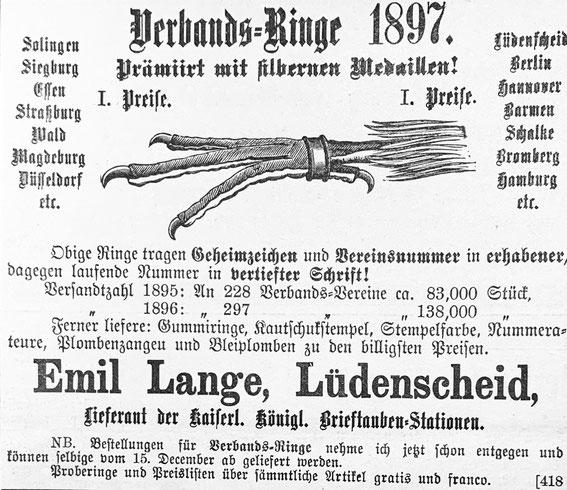 Anzeige eines Ringherstellers in der Zeitschrift für Brieftaubenkunde des Jahres 1896