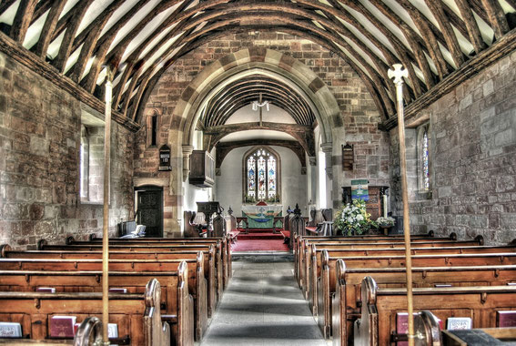 The nave looking eastwards to the chancel. Image by Mike Wilson on Flickr reusable under Creative Commons licence Attribution-NonCommercial 2.0 Generic
