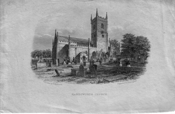 Handsworth church after the addition of the Watt chapel but  before the 1876 restoration. Image kindly submitted by Mary Whittaker.