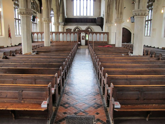 Christ Church interior looking west; image from the church website - http://www.christchurchsummerfield.org/about/early-history/