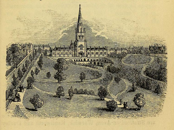St Michael & All Angels and the Church of England Cemetery viewed from Icknield Street. Image from Cornish's Strangers' Guide to Birmingham 1851, a work now in the public domain