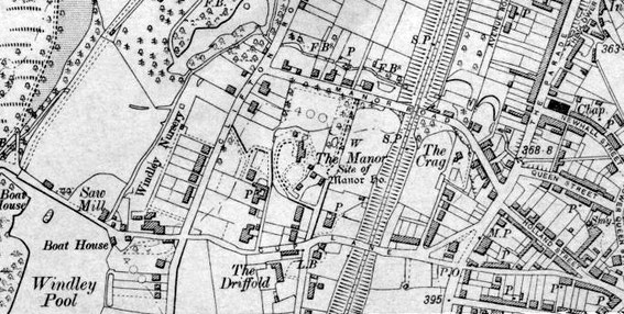The site of the medieval manor house and chapel is shown on this Ordnance Survey map of 1905