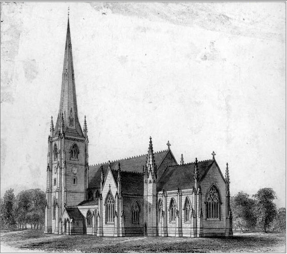 An early drawing of St Michael's - from the Birmingham Sites & Monuments Record