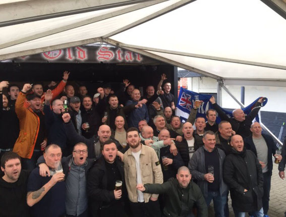 Mill Hill Mob, Daisy Field Riot Squad, Wimberley Boot Boys: Blackburn Youth 'Elders' - some of the original faces from the 1980s, Away at Burton 2017.