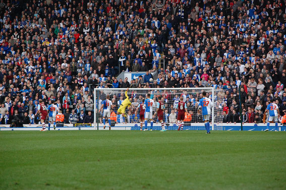 Sunday, 9th March 2014. The Ronnie Clayton Blackburn End looks helplessly on. Championship, Rovers 1 - 2 Burnley. Rovers surrender a proud 35 year undefeated run at Ewood Park.  Attendance: 21,589.