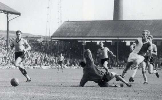 John Byrom scores for Rovers v Woves, 1964.