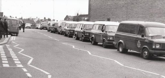February 1990: Police wait for ravers in Blackburn.
