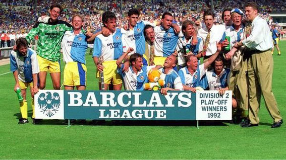 25/05/1992, Wembley: After beating Leicester City 0-1 in the Division 2 Play-Off Final, as Rovers had played in the away kit of yellow they changed into the historic Blue 'n' White halved shirt before climbing the steps to the Royal Box to collect the cup