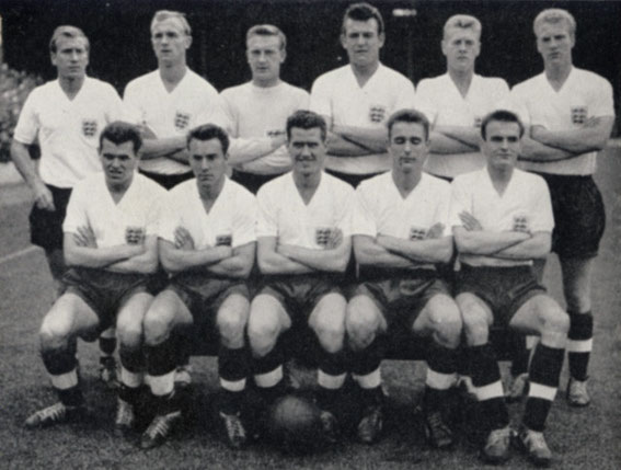 Ronnie Clayton as Captain of the England team, bottom row centre, circa 1955-1960.