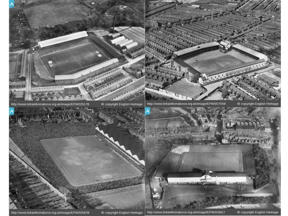L-R top: Ewood Park, 1928; Goodison Park, 1938. L-R bottom: Highbury, 1929; St James Park, 1927.