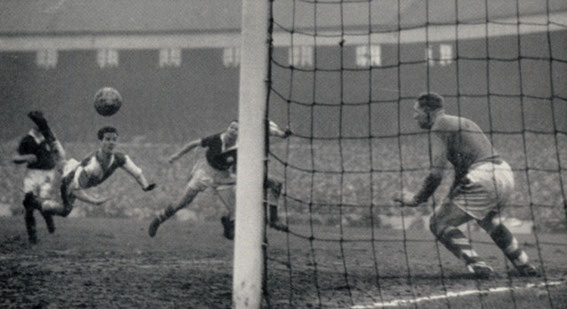 Rovers v Liverpool, 1963. Ronnie Clayton scores.