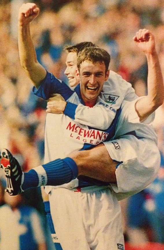 Chris Sutton and Graham Le Saux celebrate another goal, 1994-1995.