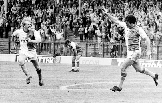 Simon Barker celebrates a Rovers goal with Simon Garner. Barker left Rovers for QPR in July 1988 for £400,000, it was the largest fee that Rovers had received for a player at that time and a club record signing for the Loftus Road club.