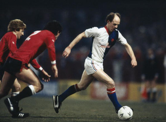 Noel Brotherston in action for Blackburn Rovers during their FA Cup 5th round match v Manchester United at Ewood Park, 15th February 1985.