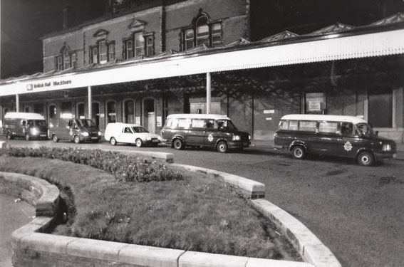 1990: Police wait for party-goers to arrive at Blackburn station.