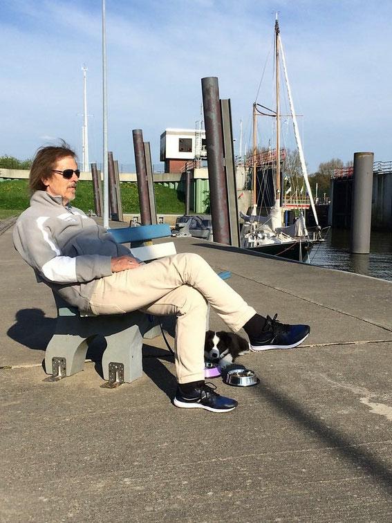 Und später bei der Pause im Glückstädter Hafen!