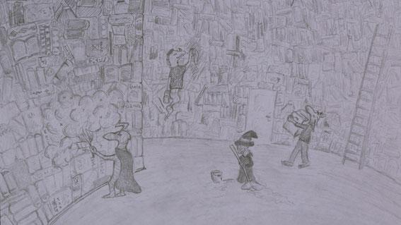"""Putzaktion in der Bücherburg. *seufzt* """"Na, und jetzt zeichne ich nur noch schnell die Wände."""" ...Stunden später: """"Waaaah! Nie wieder."""""""