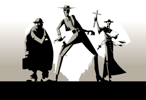 The three rival characters: merchant, outlaw and priest  © Jürgen Blankenhagen since 2009