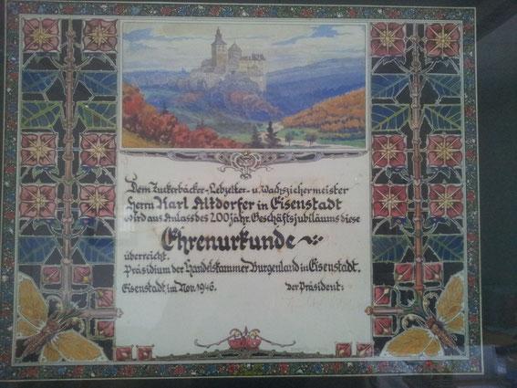 Urkunde zum 200-jährigen Jubiläum 1946
