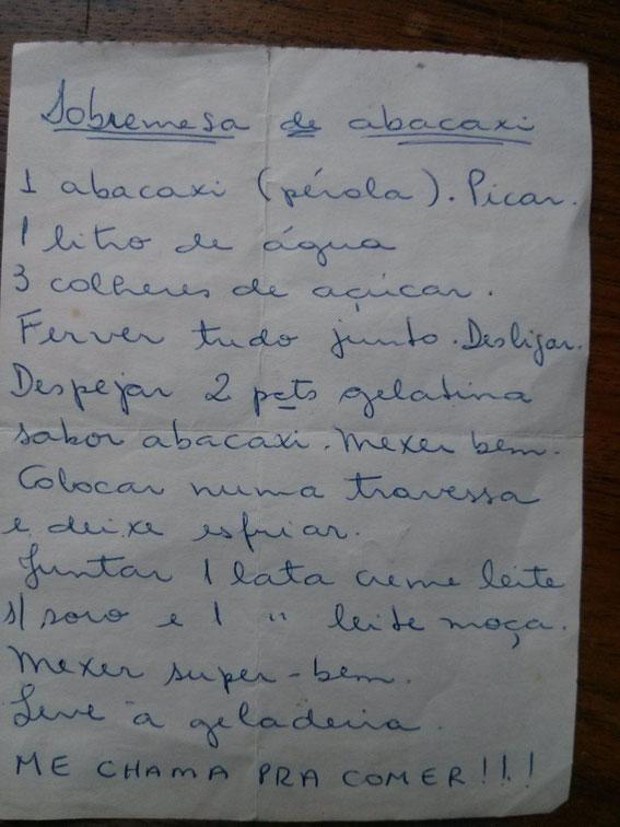 SOBREMESA DE ABACAXI Receita e letra da Marilda