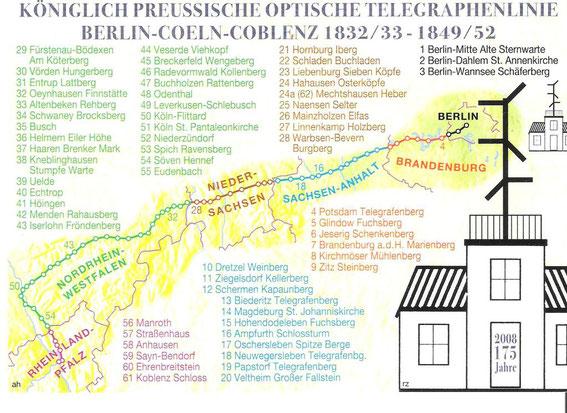 Karte der Linie Berlin - Koblenz