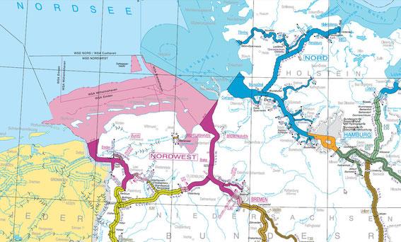 Küstenkanal oder Jade-Ems-Kanal binnen oder ostfriesische Inseln/Helgoland aussen