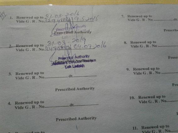 "Hotel Registration for ""Ratna Hotel Ladakh"" renewed up to 31.03.19"