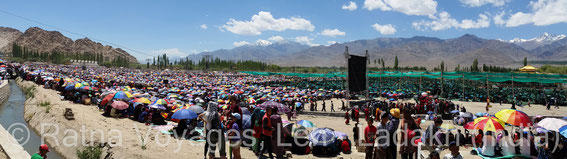 "Nearly 200'000 pilgrims gathered at the Kalachakra venue at the ""Jivey Tsal"" teaching ground in Choglamsar-Shey, 8Km East of Leh"